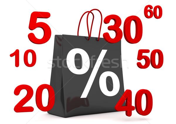 Black Shopping Bag Percent Numbers Stock photo © limbi007