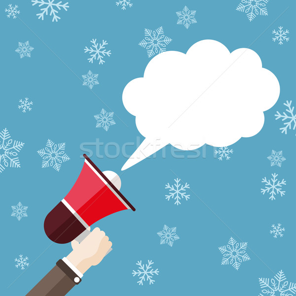 Flat Hand Bullhorn Speech Bubble Cloud Snowflakes Stock photo © limbi007