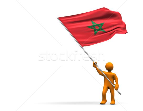 Marokkó ventillátor illusztráció külső nagy zászló Stock fotó © limbi007