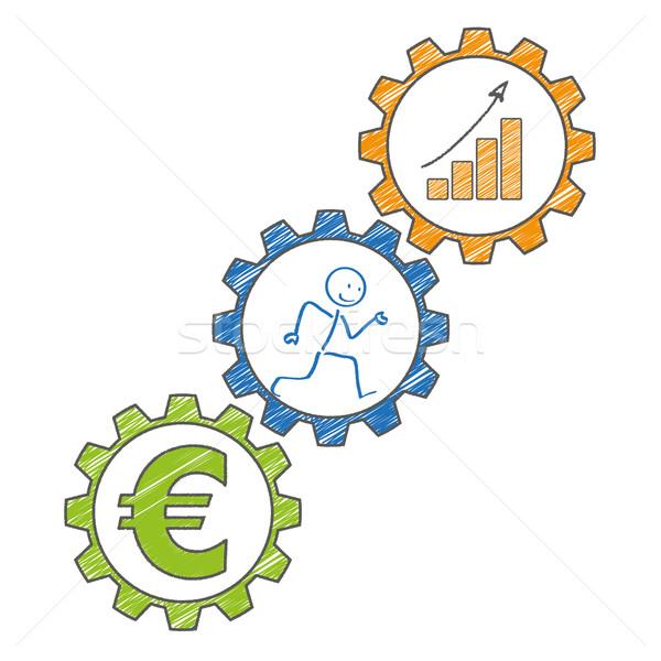 Stickman Gears Euro Chart. Stock photo © limbi007