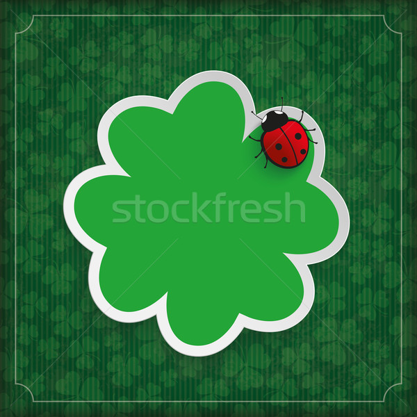 Vintage Cover Shamrocks Ladybug Stripes Stock photo © limbi007