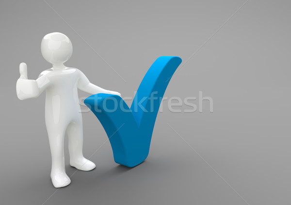 Manikin Ok Blue Tick Stock photo © limbi007