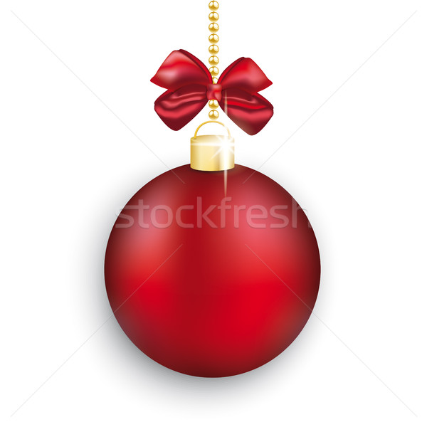 Red Christmas Bauble Red Ribbon White Background Stock photo © limbi007