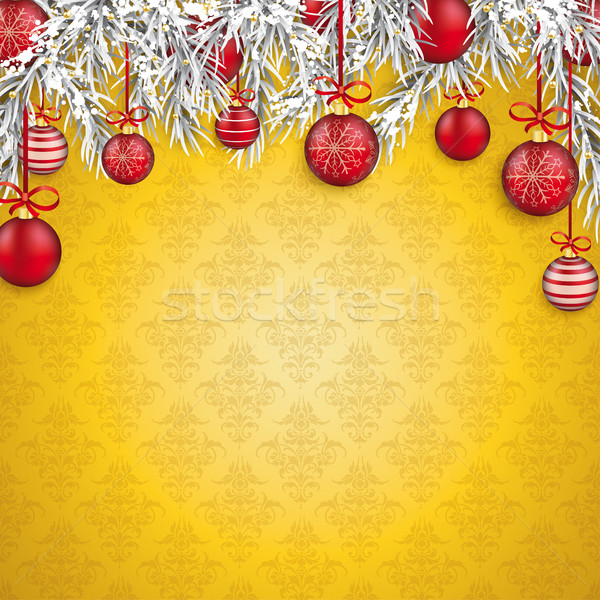 Christmas Golden Ornaments Baubles Twigs Stock photo © limbi007