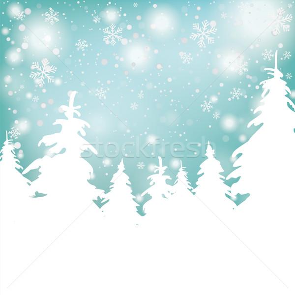 Christmas Snow Background Fir Trees Stock photo © limbi007