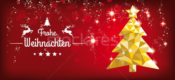 Low Poly Christmas Tree Red Headline Frohe Weihnachten Stock photo © limbi007