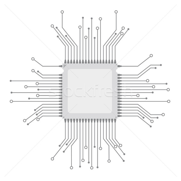 futuristic processor circuit board vector illustration