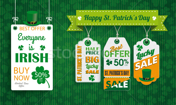 Vintage St Patricks Day Board Hat 3 Price Stickers Text Stock photo © limbi007