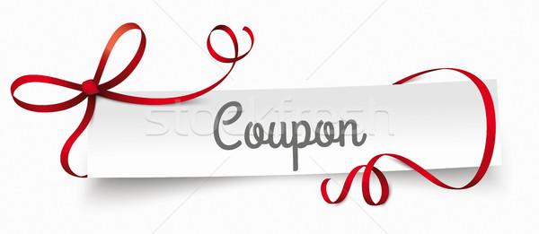 Paper Banner Red Ribbon Coupon Stock photo © limbi007