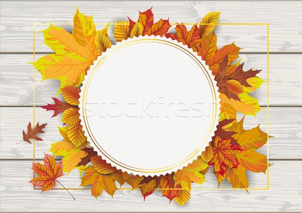 Wood Autumn Foliage Golden Emblem Stock photo © limbi007
