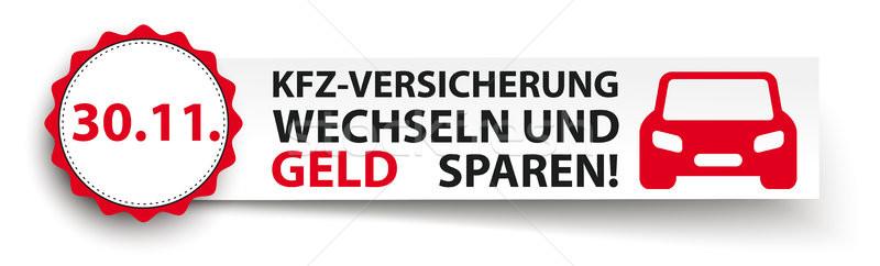 Emblem Car Paper Banner Header Kfz Versicherung Vector Illustration