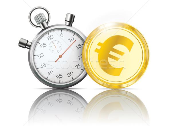 Golden Euro Coin Stopwatch Mirror Stock photo © limbi007