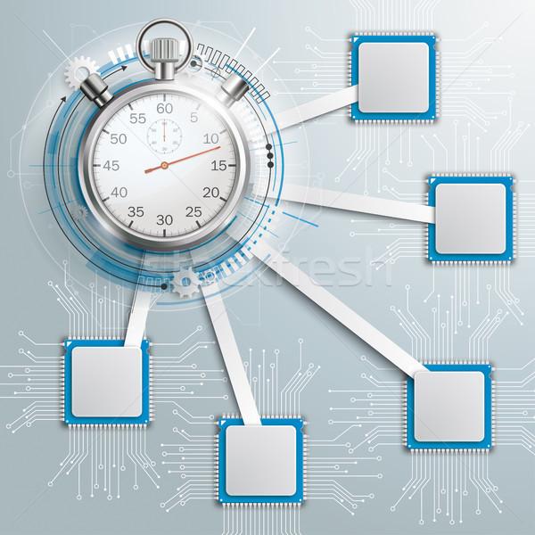 インフォグラフィック マザーボード ストップウオッチ デザイン グレー eps ストックフォト © limbi007