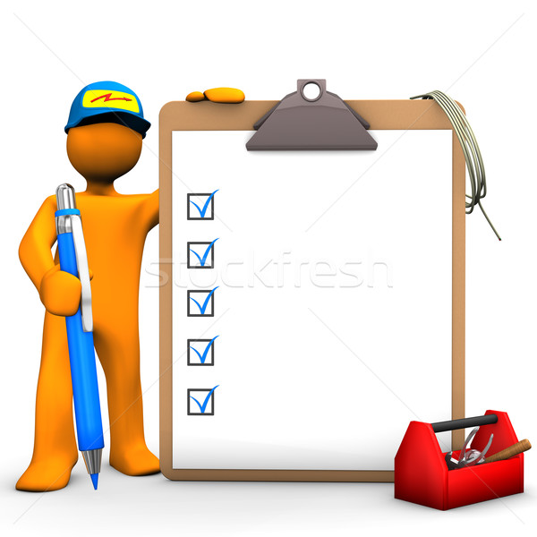Stock photo: Clipboard Electrical Worker