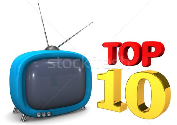 Stock fotó: Kék · tv · felső · 10 · szöveg · fehér