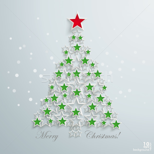 Verde árbol de navidad rojo estrellas blanco estrellas Foto stock © limbi007