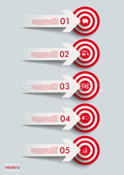 Papír vág nyilak piros eps 10 Stock fotó © limbi007