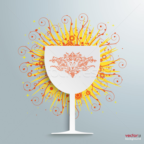 Wine Glass Retro Swirls Stock photo © limbi007