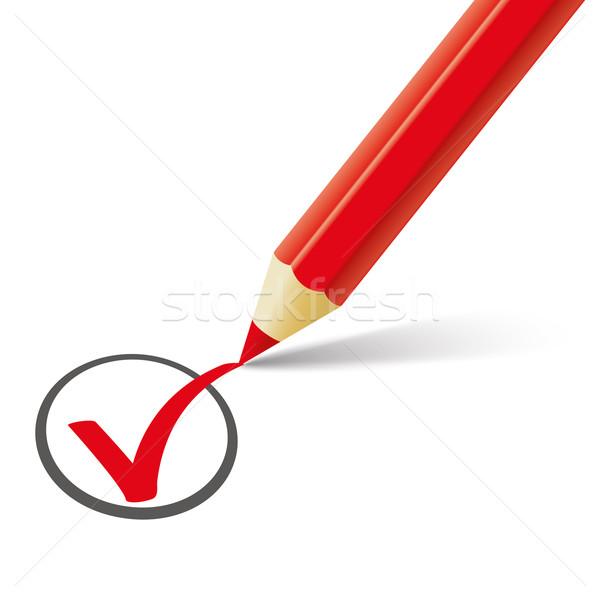 Rood pen potlood schaduw witte Stockfoto © limbi007