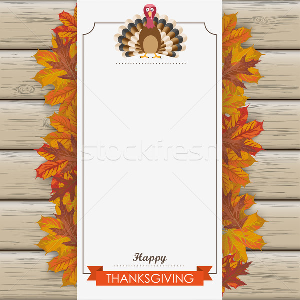 Stock photo: Oblong Banner Wood Thanksgiving Turkey Foliage