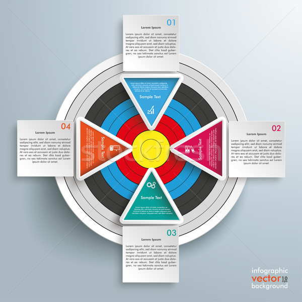 Target Colored Infographic 4 Triangles Squares Stock photo © limbi007