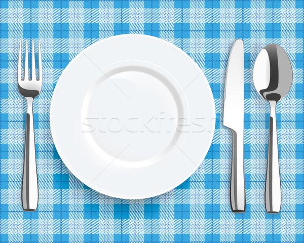 Azul toalha de piquenique prato colher faca garfo Foto stock © limbi007