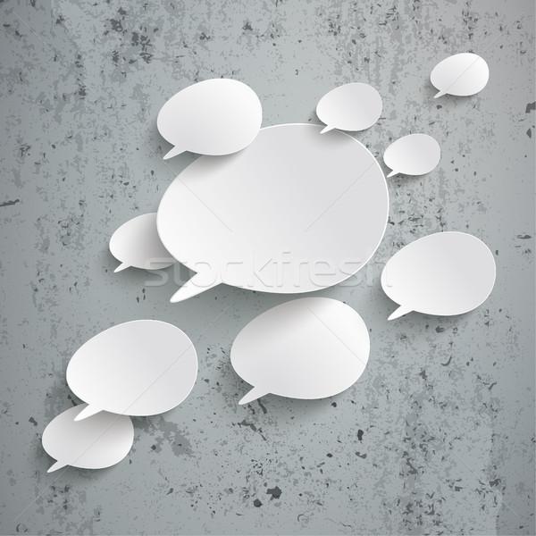 Bevel Speech Bubbles Infographic Design Concrete Stock photo © limbi007