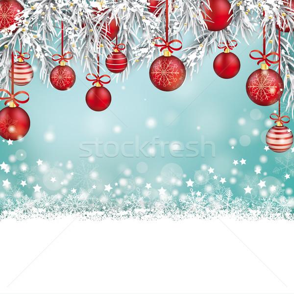 Christmas czerwony zamrożone śniegu bokeh okładka Zdjęcia stock © limbi007