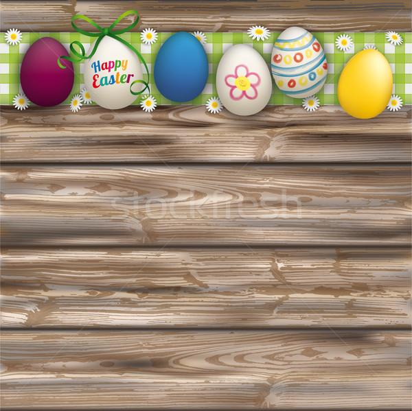 Stok fotoğraf: Paskalya · yumurtası · kapak · ahşap · yeşil · bez