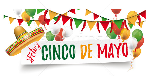 Paper Banner Buntings Chili Sombrero Feliz Cinco de Mayo Stock photo © limbi007
