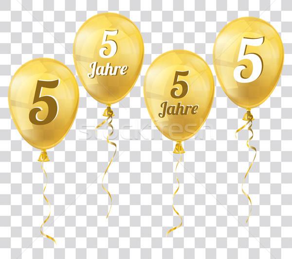 Golden Transparent Balloon 5 Jahre Stock photo © limbi007