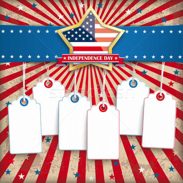 Independence Day Golden 6 Star Price Stickers Stock photo © limbi007