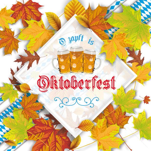 Autumn Foliage Frame Oktoberfest Bavarian Ribbons Stock photo © limbi007