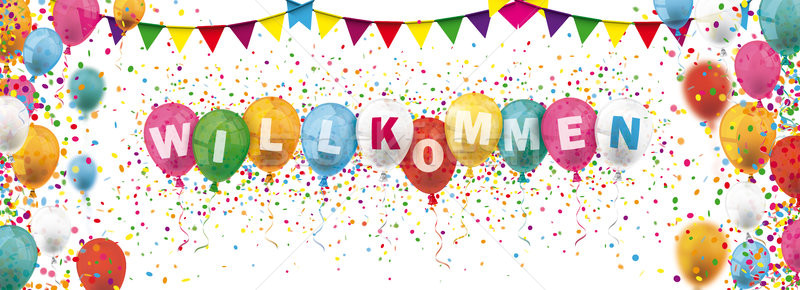 Colored Confetti Balloons Festoons Header Willkommen Stock photo © limbi007