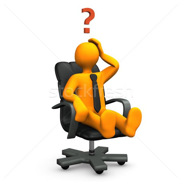 Soru turuncu koltuk soru işareti ofis Stok fotoğraf © limbi007