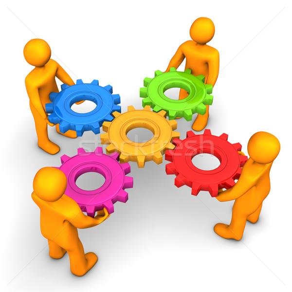 Stockfoto: Workflow · vijf · versnellingen · oranje · cartoon