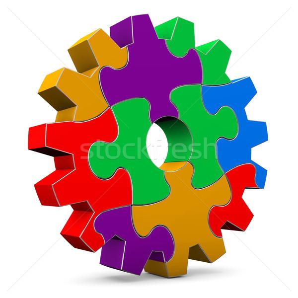 Colorful Puzzle Gear Wheel Stock photo © limbi007