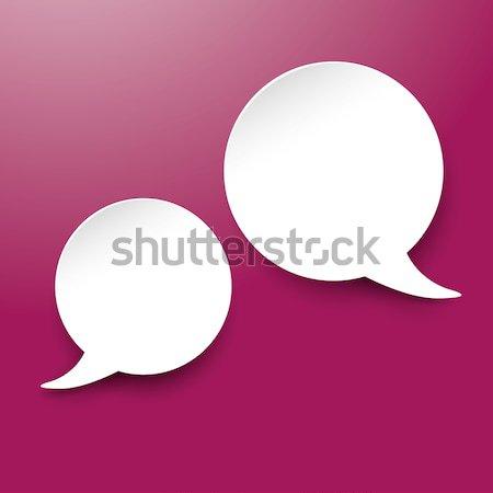 Dos blanco comunicación bocadillo púrpura Foto stock © limbi007
