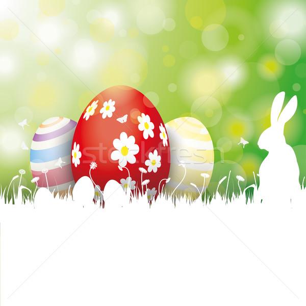 Stok fotoğraf: Paskalya · kart · yumurta · beyaz · çim · tavşan