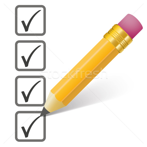 Pencil Checklist 4 Ticks Stock photo © limbi007