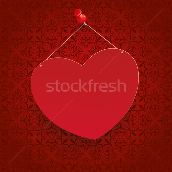 Square Ornaments Red Heart Tack Stock photo © limbi007