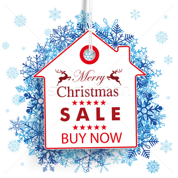 House Christmas Price Sticker Snowflakes Stock photo © limbi007