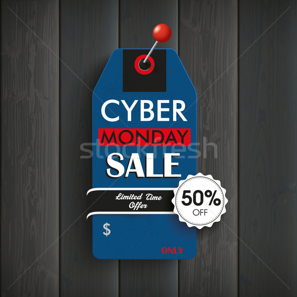 Wooden Board Cyber Monday Red Pin Stock photo © limbi007
