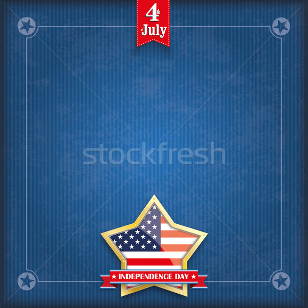 Blue Vintage Cover Golden Star Independence Day Stock photo © limbi007