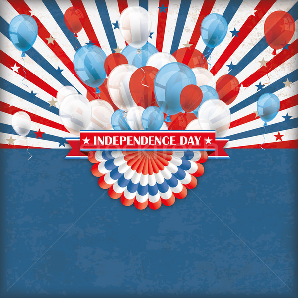 Independence Day US Flag Bunting Balloons Retro Sun Stock photo © limbi007