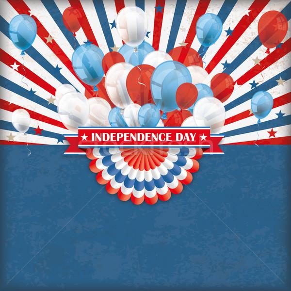 Independence Day US Flag Bunting Balloons Retro Sun Stock photo © limbi007