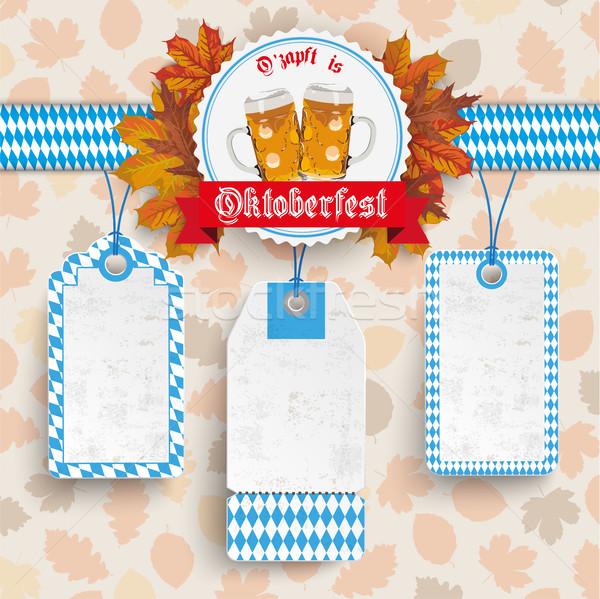 Oktoberfest lomb embléma ár matricák szöveg Stock fotó © limbi007