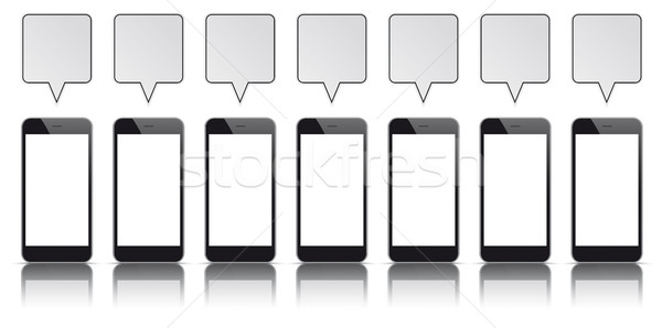 7 Black Smartphones Quadratic Speech Bubbles Stock photo © limbi007
