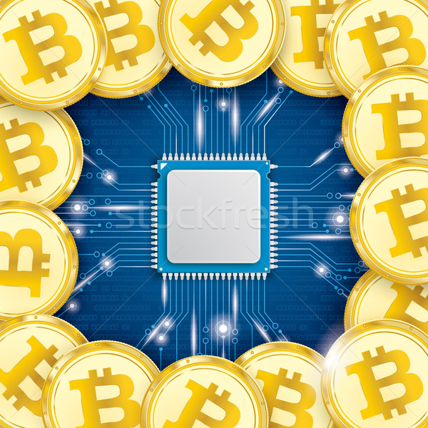 Golden Bitcoins Microchip Processor Lights Stock photo © limbi007
