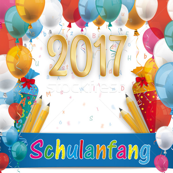 Balloons Schulanfang Candy Cones Pencils Letters 2017 Stock photo © limbi007